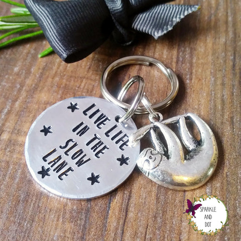 Personalised Sloth Hand Stamped Keyring-Keyring-Sparkle & Dot Designs