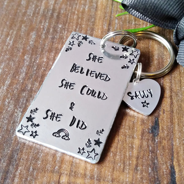 She Believed She Could & She Did Keyring-Keyring-Sparkle & Dot Designs