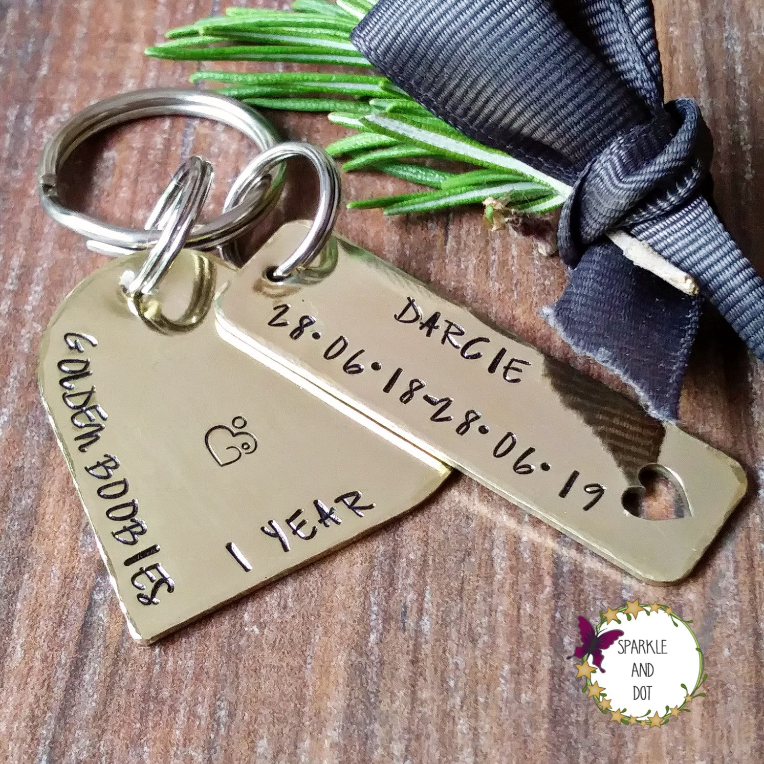 Golden Booby Personalised Heart Breastfeeding Milestone Keyring-Keyring-Sparkle & Dot Designs