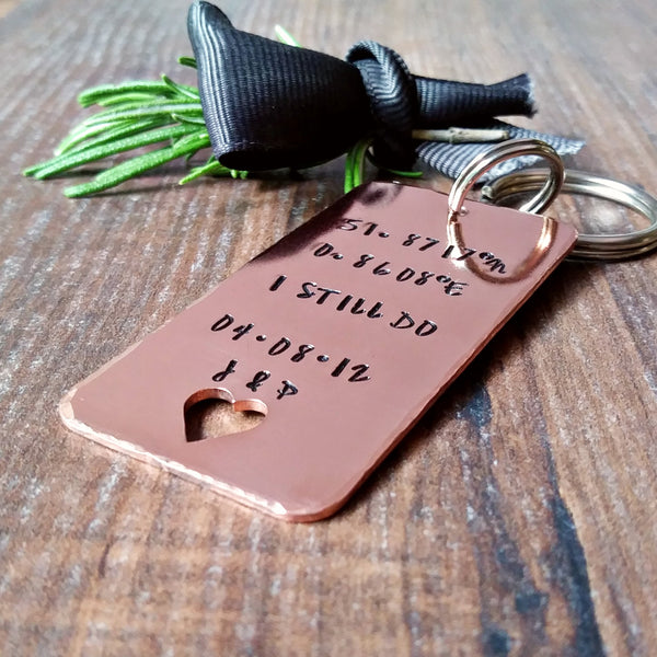 Copper 7th Wedding Anniversary I Still Do Hand Stamped Keyring-Keyring-Sparkle & Dot Designs