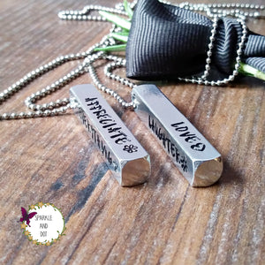 Personalised 4 Sided Bar Hand Stamped Necklace-Necklace-Sparkle & Dot Designs