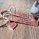 Slim Copper 7th Wedding Anniversary Hand Stamped Keyring - sparkle-dot-designs