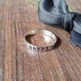 Personalised Silver Band Hand Stamped Ring-Full Ring-Sparkle & Dot Designs