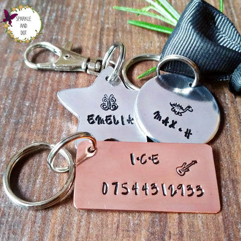 Personalised Kids Bag Name Tags ICE Emergency Contact Keyring - sparkle-dot-designs