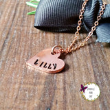 Personalised Small Copper Heart Necklace with Rose Gold Plated Chain-Necklace-Sparkle & Dot Designs