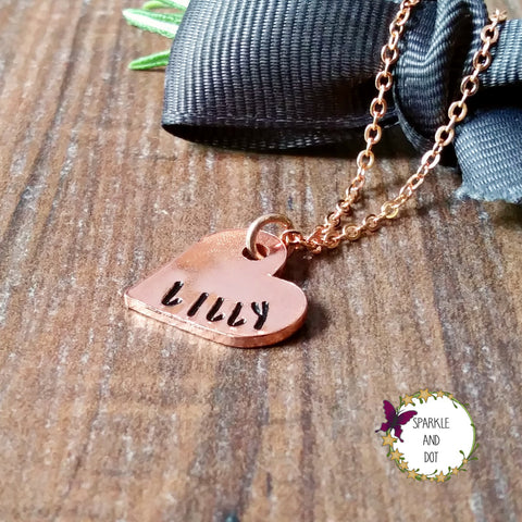 Personalised Small Copper Heart Necklace-Necklace-Sparkle & Dot Designs