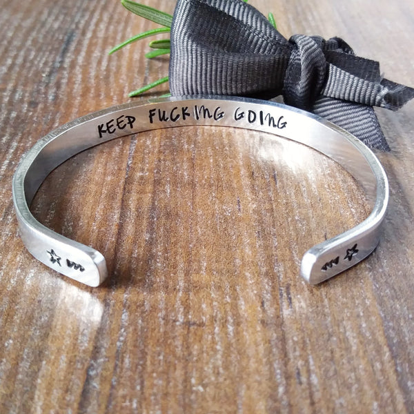 Hidden Message Keep Fucking Going Skinny Bracelet-Bracelet-Sparkle & Dot Designs