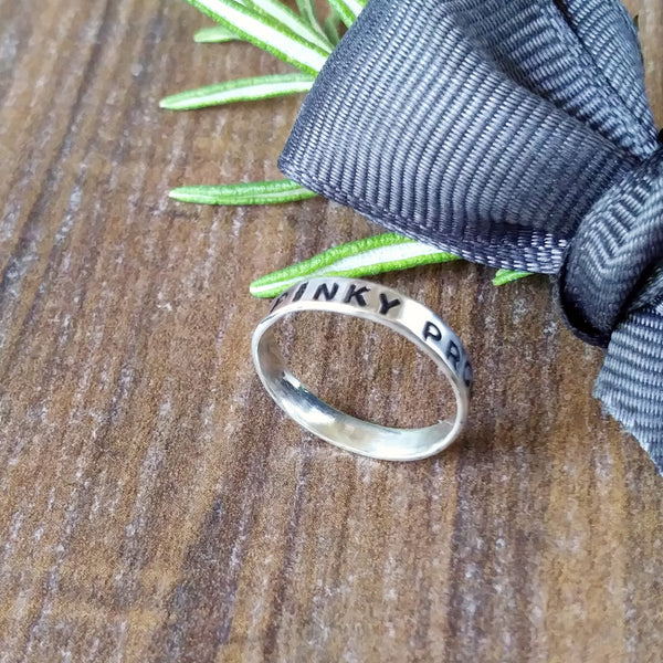 Dainty Pinky Promise Personalised Silver Band Ring-Full Ring-Sparkle & Dot Designs