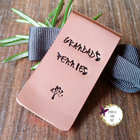 Copper Personalised Money Clip - Sparkle & Dot Hand Stamped