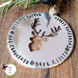 Personalised Stag Christmas Tree Decoration Sparkle & Dot Hand Stamped