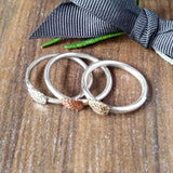 Skinny Stacking Silver Copper Brass Leaf Ring Sparkle & Dot Hand Stamped