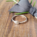 Skinny Stacking Silver Leaf Ring Sparkle & Dot Hand Stamped