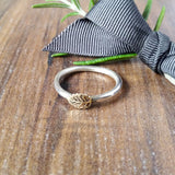 Skinny Stacking Brass Leaf Ring Sparkle & Dot Hand Stamped