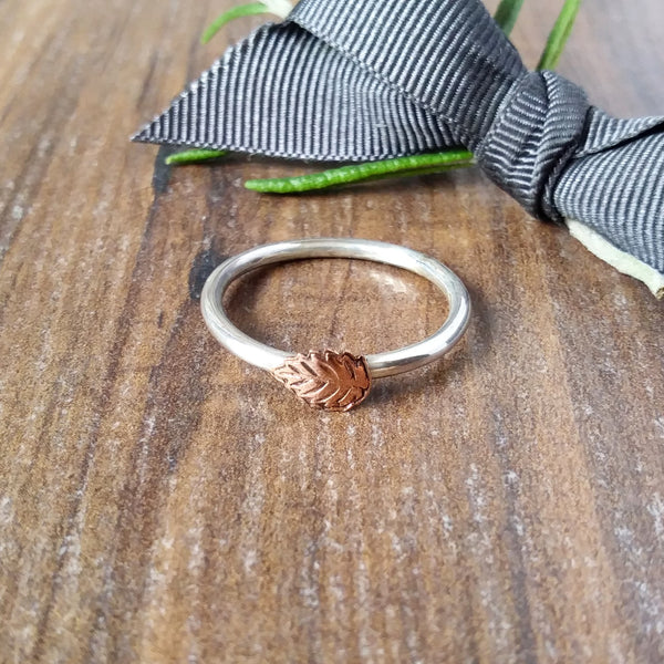 Skinny Stacking Silver Copper Brass Leaf Ring-Full Ring-Sparkle & Dot Designs