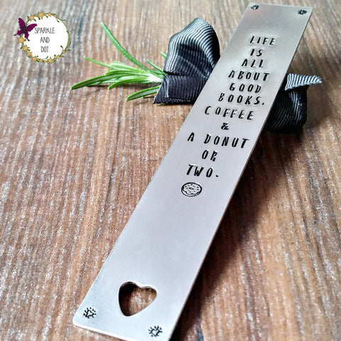 Personalised Hand Stamped Metal Bookmark, - Sparkle & Dot Designs