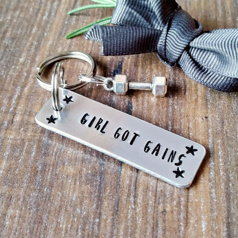 Powerlifting Barbell Hand Stamped Keyring Gift-Keyring-Sparkle & Dot Designs