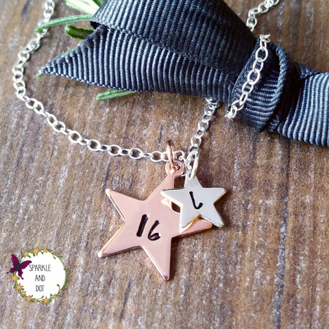 Copper & Silver Star Initial Necklace-Necklace-Sparkle & Dot Designs