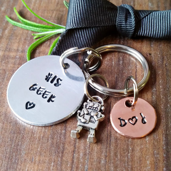 Personalised Geek Sci-Fi Robot Keyring-Keyring-Sparkle & Dot Designs
