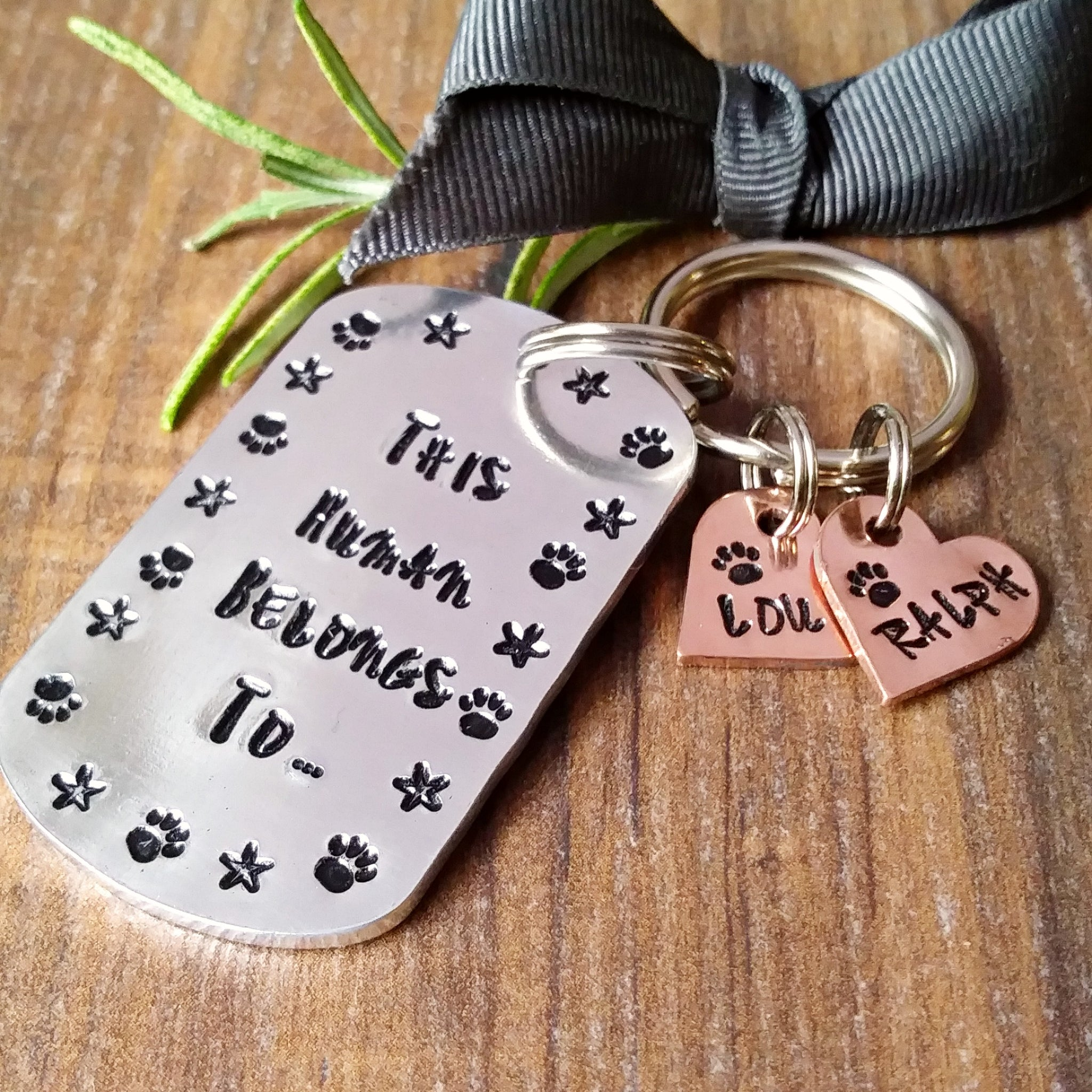 Pet Owner Keyring | This Human Belongs To | Dog Lover Personalised Gifts-Keyring-Sparkle & Dot Designs