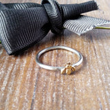 Bee or Swallow Bird Super Skinny Silver Rings-Full Ring-Sparkle & Dot Designs