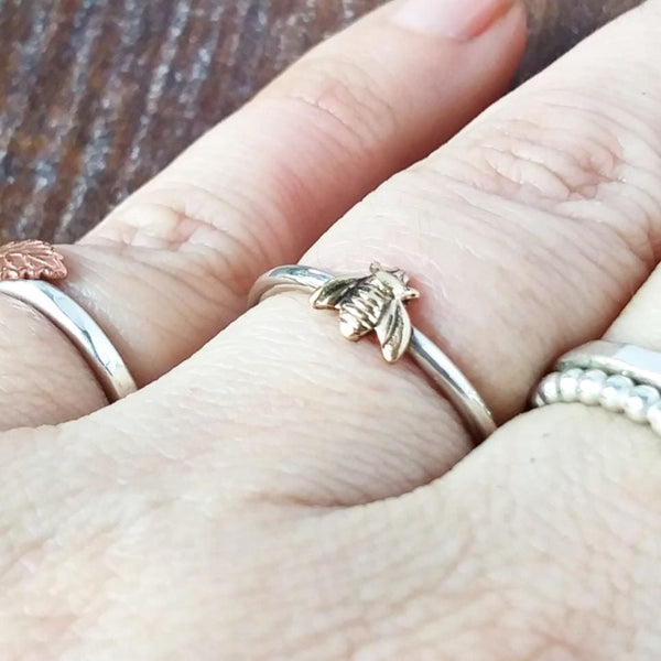 Tiny Bee Silver Ring | Swallow Bird Super Skinny Ring-Full Ring-Sparkle & Dot Designs