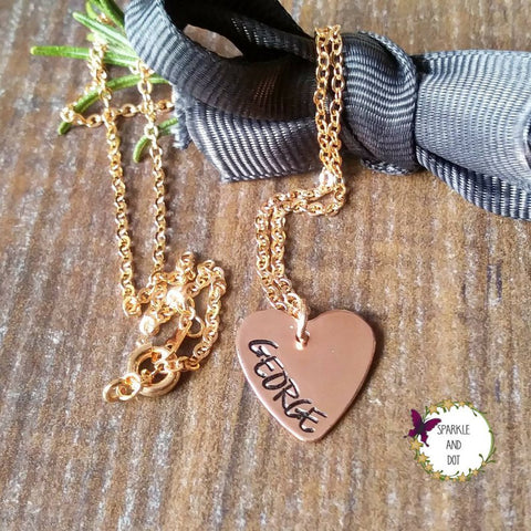 Personalised Copper and Rose Gold Heart Necklace - sparkle-dot-designs