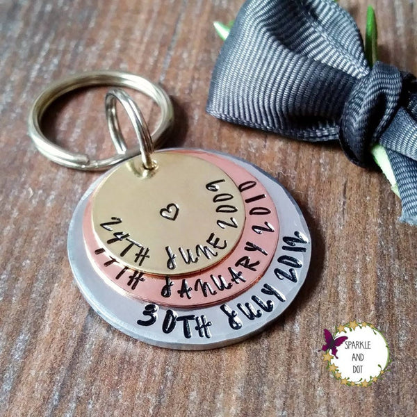 Special Dates Mixed Metal Anniversary Keyring-Keyring-Sparkle & Dot Designs
