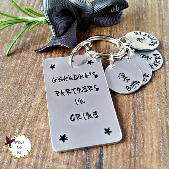 Personalised Partners In Crime Keyring-Keyring-Sparkle & Dot Designs