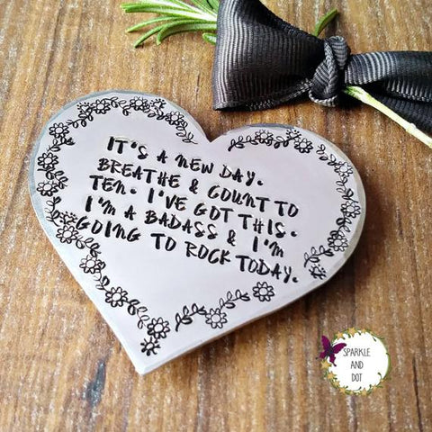 Positive Affirmations Hand Stamped Heart Fridge Magnet-Magnets-Sparkle & Dot Designs