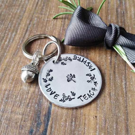 Special Teacher End Of Year Thank You Hand Stamped Gift-Keyring-Sparkle & Dot Designs