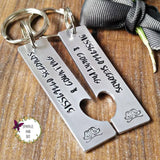 10 Years & Counting Anniversary Split Heart Keyrings-Keyring-Sparkle & Dot Designs
