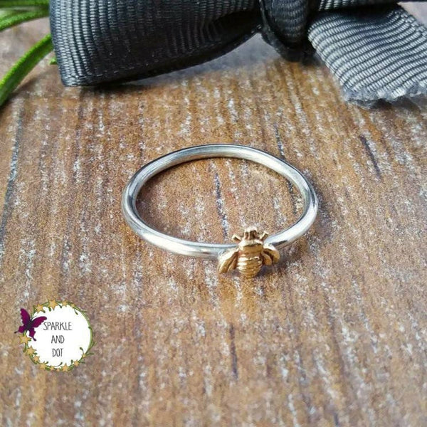 Tiny Bee Silver Ring Skinny Ring-Full Ring-Sparkle & Dot Designs