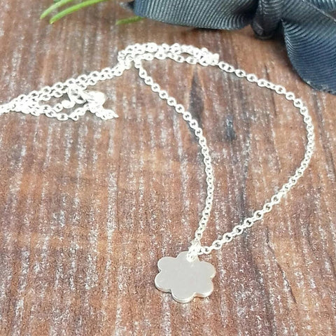 Personalised Silver Daisy Necklace-Necklace-Sparkle & Dot Designs
