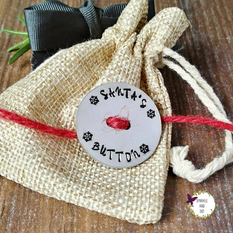 Santa's Lost Button, Father Christmas Keepsake for Kids, Hand Stamped Gift, - Sparkle & Dot Designs
