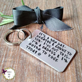 Anxiety Mantra Just Breathe Hand Stamped Keyring - Sparkle & Dot Designs