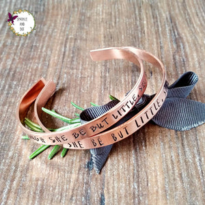 Though She Be Little She Be Fierce, Copper Hand Stamped Cuff Bracelet,-Bracelet-Sparkle & Dot Designs