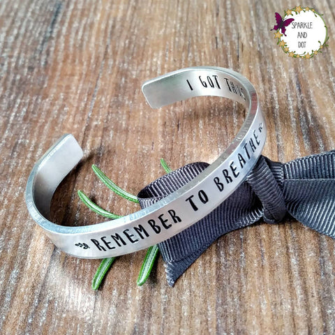 Mindfulness Hidden Message Personalised Hand Stamped Bracelet - sparkle-dot-designs