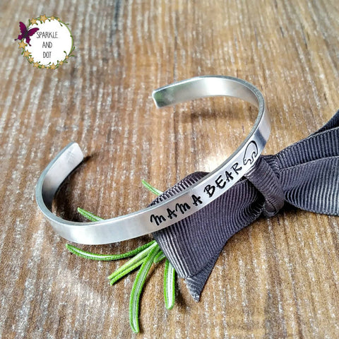 Cute Gifts For Mum Mama Bear Hand Stamped Bracelet - sparkle-dot-designs
