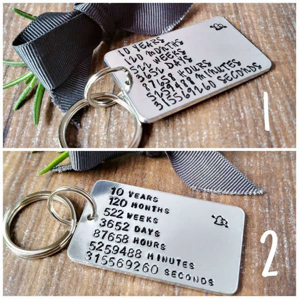 Personalised 10th Anniversary Countdown Keyring-Keyring-Sparkle & Dot Designs