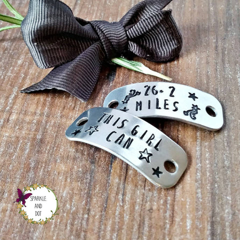 Personalised Custom Hand Stamped Trainer Tags, Gifts For Marathon Runners, - sparkle-dot-designs