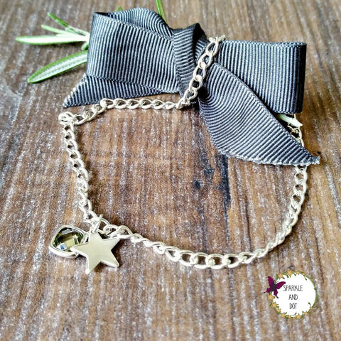 Hand Stamped Personalised Green Charm Ankle Bracelet - Sparkle & Dot Personalised Hand Stamped Designs
