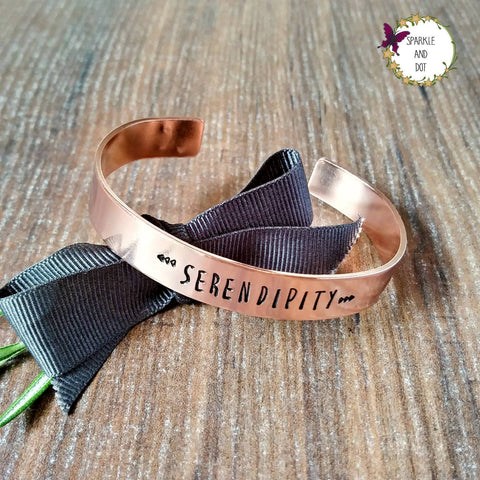 Serendipity Copper Hand Stamped Bracelet, Hand Stamped Gift, - Sparkle & Dot Designs