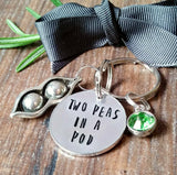 Two Peas In A Pod Best Friend Keyring - sparkle-dot-designs