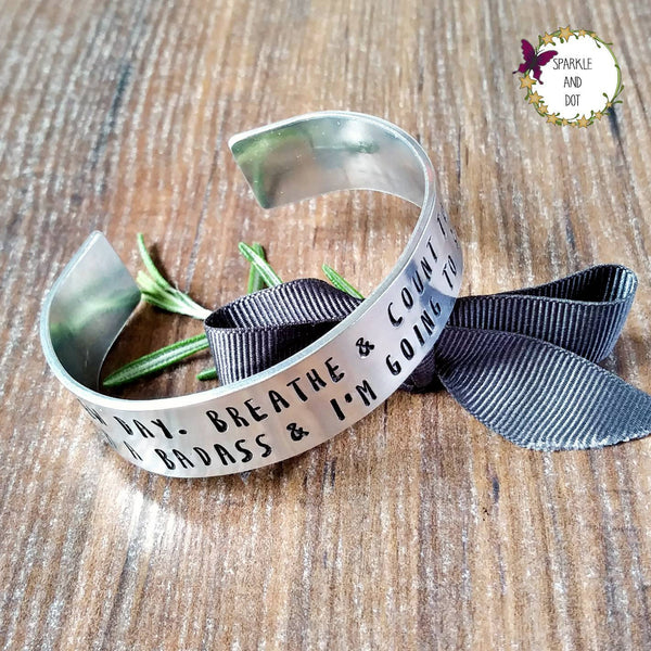 You're A Badass Wide Bracelet | Sparkle & Dot Hand Stamped-Bracelet-Sparkle & Dot Designs