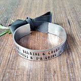 Badass Anxiety Quote Hand Stamped Wide Bracelet - sparkle-dot-designs