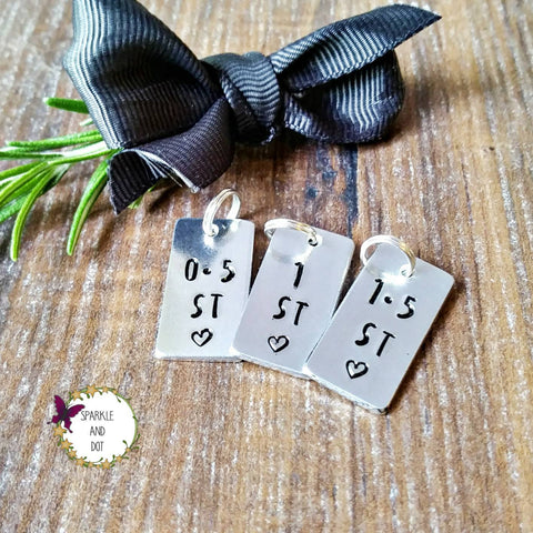 Extra Tags for the Weight Loss & Marathon Keyring Hand Stamped Gift, - Sparkle & Dot Personalised Hand Stamped Designs