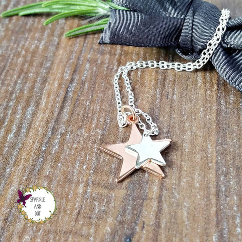 Personalised Layered Copper and Silver Star Initial Necklace - sparkle-dot-designs