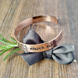 Pretty Hand Stamped Women's Copper Wanderers Quote Bracelet - sparkle-dot-designs