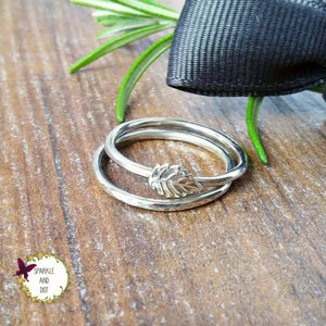 Super Skinny Silver Leaf Hammered Stacker Ring-Full Ring-Sparkle & Dot Designs
