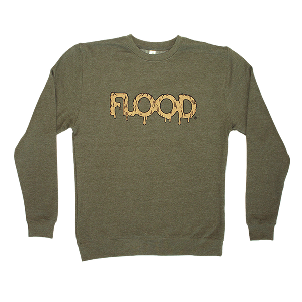 FLOOD Gold Logo Green Crewneck Sweatshirt